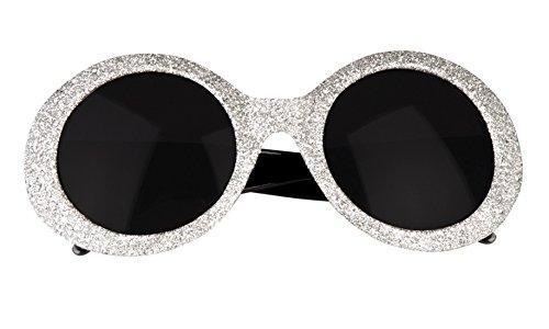 erdbeerloft - Oversize Flower Hippie Brille Sonnenbrille Kostüm, Silber