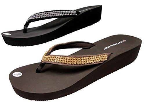 Damen Dunlop Diamantriemen Sandale Mit Flachem Keilabsatz Braun