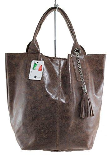 Sac à bandoulière MC pour femmes avec poignées semi-brillant, 39x36x20cm, 100% cuir véritable Fabriqué en Italie