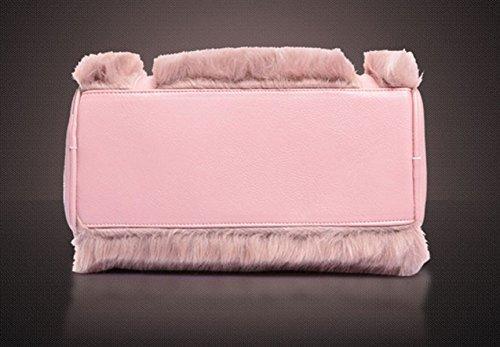 QPALZM Damen Mode PU-Leder-Handgriff-Taschen-Geldbeutel-Schultertasche Damen Handtaschen Handtaschen 35 27 Unzen (OZ) Pink