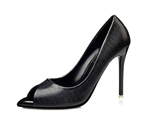XINJING-S Bowknot High Heels Schuhe Party Hochzeit Frauen Pumps Heels OL Kleidung Schuhe Sandalen Schwarz