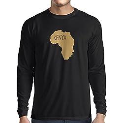 Camiseta de Manga Larga para Hombre Salvar Kenia - camisa política, refranes de la paz (Small Negro Oro)
