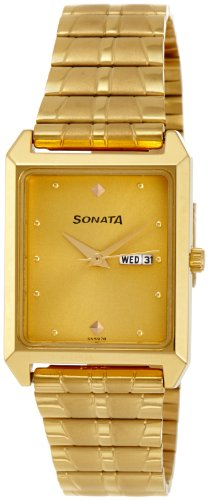 Sonata Analog Gold Dial Men's Watch -NK7007YM05