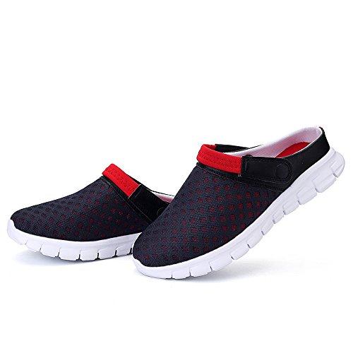 Bwiv pantofole da spiaggia unisex sandali traspiranti zoccoli estivi leggeri delle taglie 37-43 Blu scuro con cinturino rosso