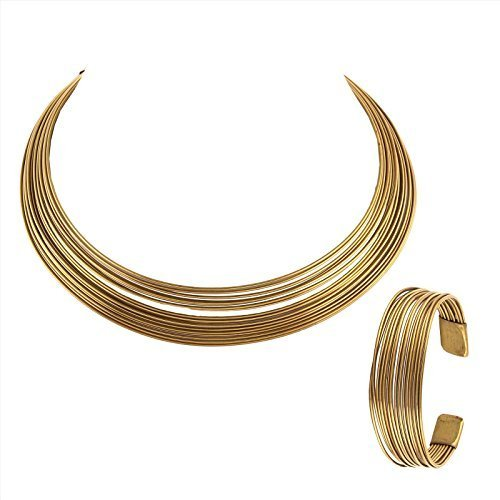 Zephyrr Gold Tone Metallic Non-Precious Metal Choker Necklace And Bracelet Set Combo For Women