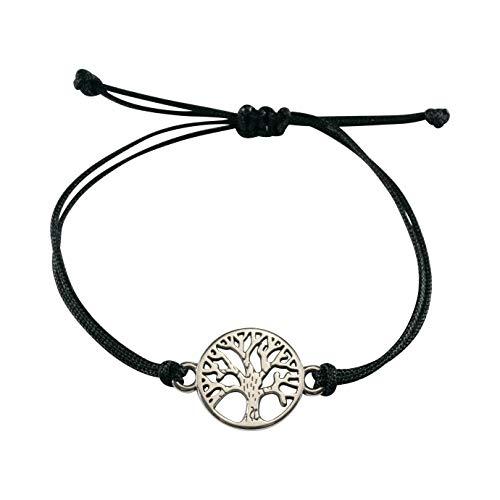 Nuoli Lebensbaum Armband Silber, schwarzes Textil Band, Frauen Armband Größenverstellbar, Handmade in Germany, Nickelfrei