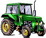 Bambinella® Bügelbild Aufbügler – gedruckte Velour / Flock Applikation zum selbst Aufbügeln - Motiv: Traktor - Hergestellt in Deutschland