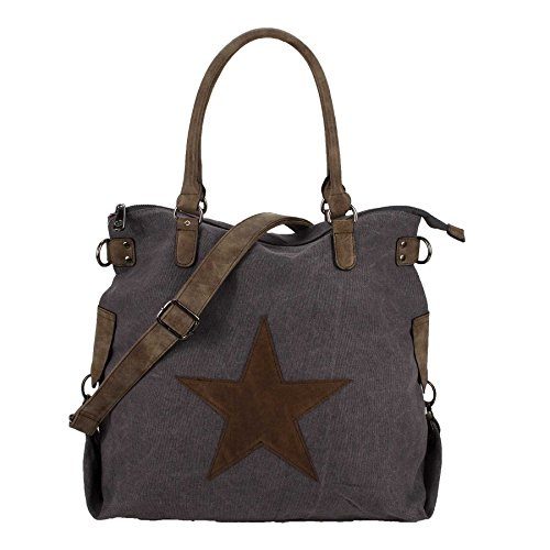 STARBAG - XL Shopper Handtasche - Stern - Canvas - Used Look (Grau)