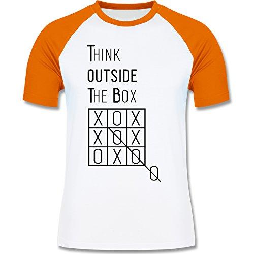 Statement Shirts - Think outside the box - zweifarbiges Baseballshirt für Männer Weiß/Orange