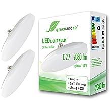 2x Bombilla LED greenandco® E27 OVNI 24W (corresponde a 130W) opaca 2080lm 3000K (blanco cálido) 180° 230V AC, sin parpadeo, no regulable