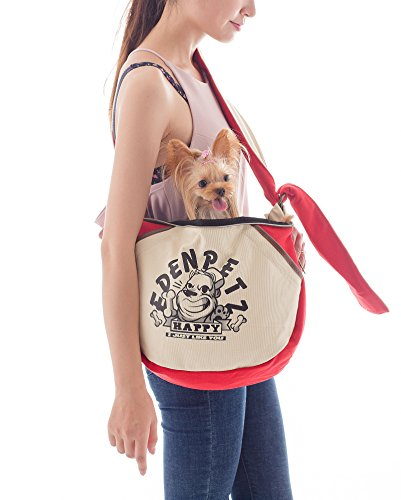EdenPetz Pet Wide Strap Sling Bag Outdoor Small Animals Travel Carrier Bag for Dogs/Cats/Rabbits Red 2