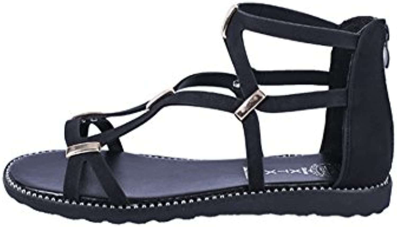 Frauen Hohl Sommer Sandalen Peep Toe Flachen Sandalen Schuhe mit Reißverschluss