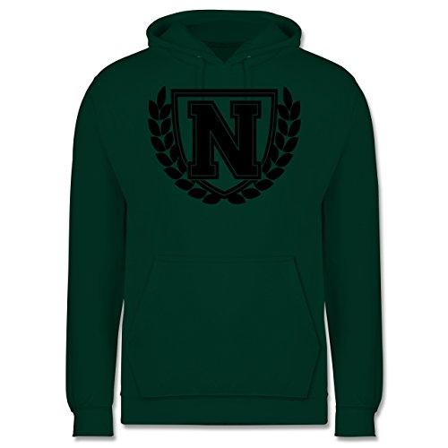 Anfangsbuchstaben - N Collegestyle - Männer Premium Kapuzenpullover / Hoodie Dunkelgrün
