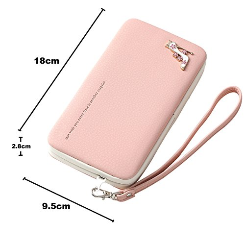 Ladies Purse Leather Wallet, Charminer Phone Clutch Purse Bag, Large Capacity Phone Case Cover With Hand Wrist, Mobile Phone Bag for Women Multifuntionale Smartphone Wristlet iPhone 7/7plus/6S Case, black