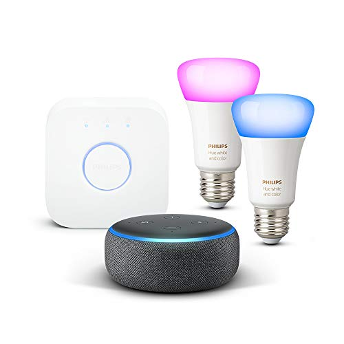 Echo Dot (3ª generazione) - Tessuto antracite + Philips Hue White and Color Ambiance Starter Kit
