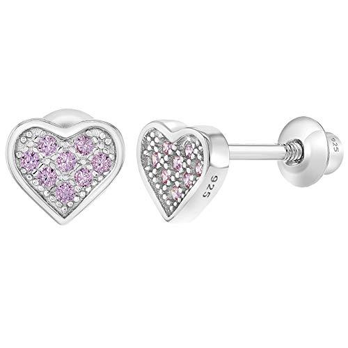 In Season Jewelry Mädchen - Schraubverschluss Ohrringe Pflastern Herz 925 Sterling Silber Rosa CZ Zirkonia