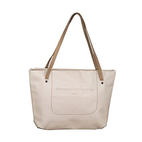 TAMARIS PAULINE Damen Handtasche, Shopping Bag, Shopper, 2 Farben: white comb. oder red comb. Weiß Kombi