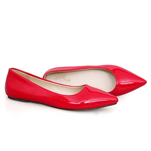 Zanpa Donne Basic Lavoro Scarpe Plat Pumps Extra Sizes 0-11 Rosso