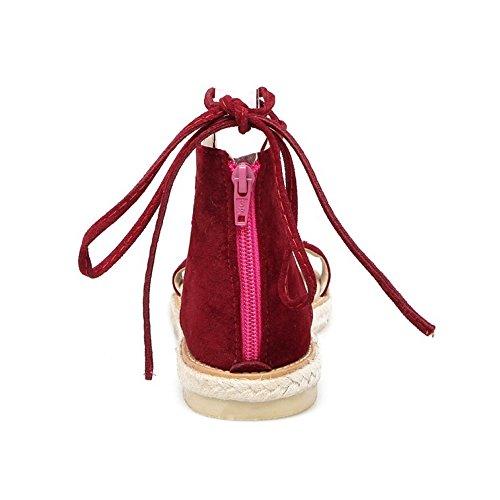COOLCEPT Femmes Mode Lacets Sandales Gladiator Zip Sandales Orteil ouvert Chaussures Rouge