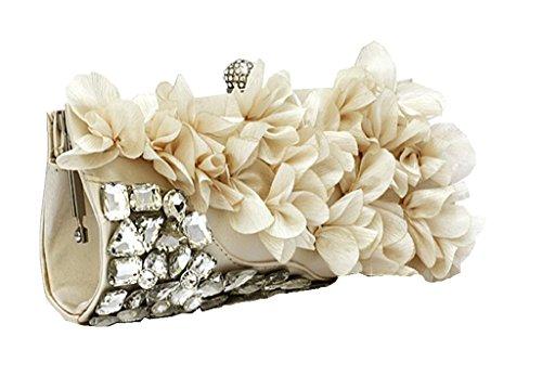 Damen Perlen Floral Party Handtasche Hochzeit Clutch Portemonnaie, Rot - rot - Größe: Aprikose