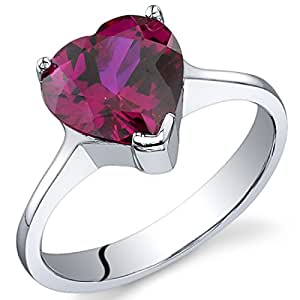 Revoni Cupids Heart 1.75 carats Ruby Ring in Sterling Silver Size J,