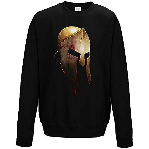 suéter de cuello redondo sudadera Hombre Warrior Helmet Black