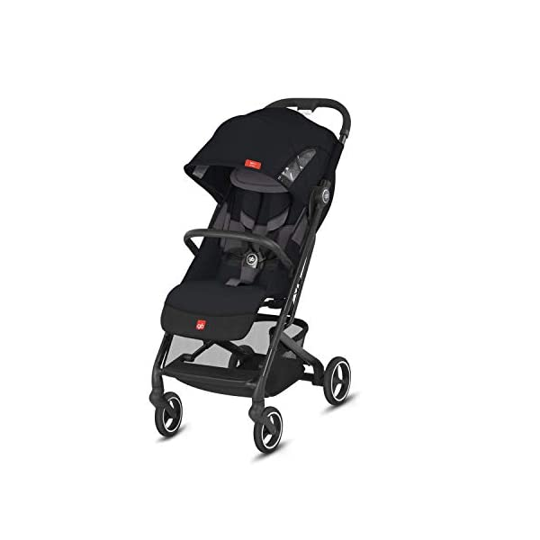 gb Gold Qbit+ All-City Compact Pushchair, Lie-Flat Reclining Seat, from Birth to 17 kg (Approx. 4 Years), Silver Anodised Frame, Fashion Collection Edition, Velvet Black GB High-quality and stable compact pushchair for newborns up to approx. 17 kg (approx. 4 years) with one-hand folding mechanism and full flat lying position - Robust frame, push handle and protective bar with leather details Optimum comfort for children of all sizes: One-hand adjustable backrest and leg rest, Head and shoulder pads for extra comfort, Easy pushing on flat surfaces thanks to single wheels on front and rear, Four wheel suspension, Swivelling and lockable front wheels Simple folding with one-hand folding mechanism to compact travel size of L:27x W:43x H:58 cm, Can be used as 3-in-1 travel system with separately available adapter for gb or CYBEX infant car seats and Cot to Go pushchair attachment 1