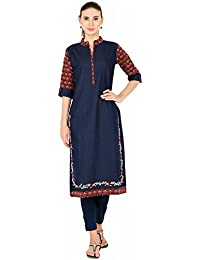 PINKY PARI NAVY BLUE & RED COLOR EMBROIDERED & PRINTED STRAIGHT FIT KURTA