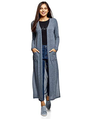 oodji Ultra Damen Langer Cardigan mit Seitenschlitzen, Blau, DE 42 / EU 44 / XL