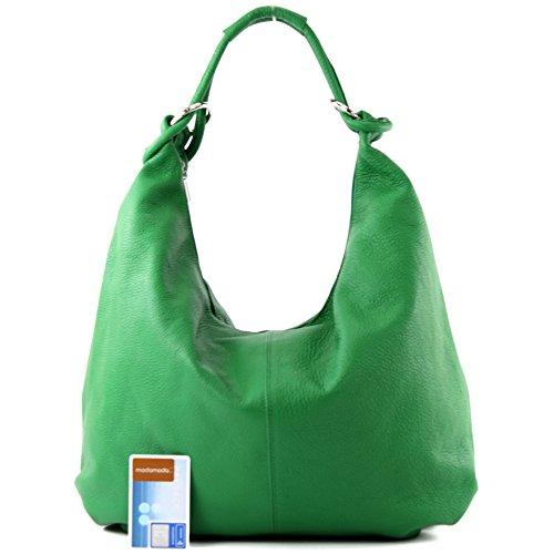 modamoda de - ital. Ledertasche Damentasche Hobo Bag Schultertasche Shopper Groß Leder 337 Grün