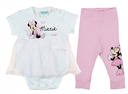 e Mädchen BABY-SET 2-teilig aus BAUMWOLLE, Baby-Body mit Tüll-Kleidchen und langer Hose, GRÖSSE 56, 62, 68, 74, 80, Spiel-Anzug, Schlaf-Anzug, tolles Geschenk Größe 62 (Minnie Kleid Für Kleinkinder)