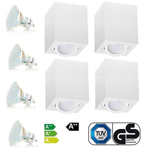 Weiß Aufbaustrahler Aufbaleuchte Aufbaulampe Deckenleuchte Deckenspots LED 4W 230V GU10 TÜV SÜD (4er OH.37W 4W)