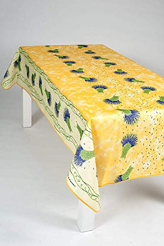 Nappe Bouquet de lavande rectangulaire - Anti Taches, Infroissable - 100% Polyester (Tissu) - Jaune, 200x150cm, Rectangulaire