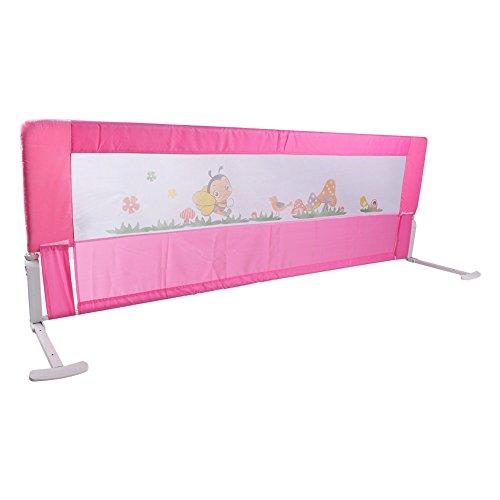 Bettgitter Bettschutzgitter Klappbar Tragbares Faltbar bettschutzgitter für Baby Kinder 180 cm/ 150 cm (Rosa/Blau) (Rosa 180 cm)