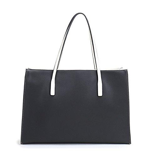 Mefly Moda in Pelle di moda Borsetta Borsetta in pelle bianco e nero black and white
