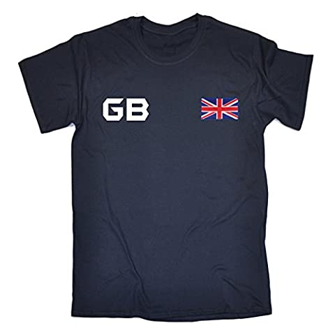 Great Britain Supporter Games Team British Fan Tee GB Flag Sports Jersey White Logo (L - NAVY)