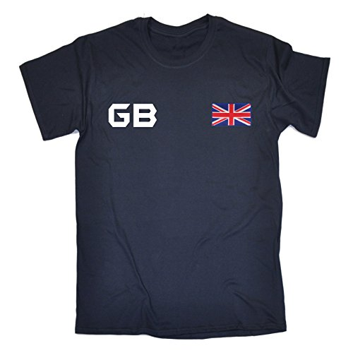 Great Britain Supporter Games Team British Fan Tee GB Flag Sports Jersey White Logo (L - NAVY) T-SHIRT