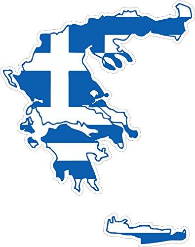 Akacha Aufkleber, aus Vinyl, Motiv: griechische Flagge auf Umriss Griechenlands -
