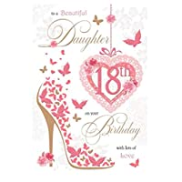 Daughter 18th Birthday Card (GR-392010) - Hot Pink Butterfly Shoe and Roses - Flitter and Foil Finish