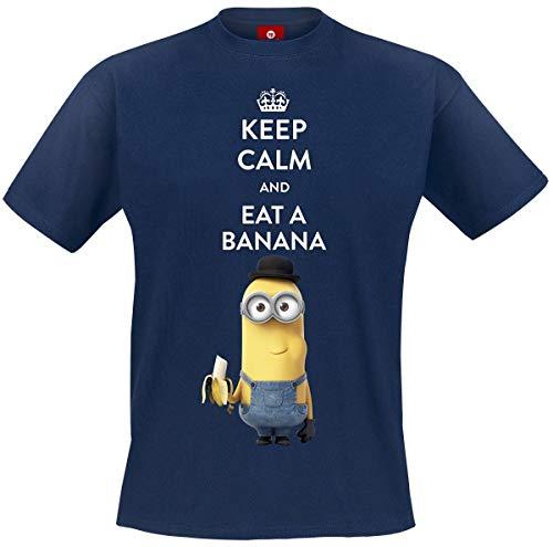 MINIONS Keep Calm and Eat A Banana T-Shirt Navy XXL