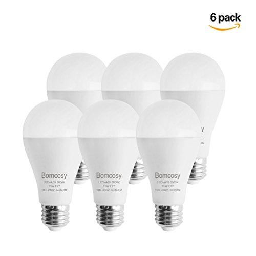 Bomcosy Lampadine LED E27, 15 W Equivalenti a 100 W, Bianco Caldo 3000K, 1200 Lumen, 100-240 Volt, Non Dimmerabile, Confezione da 6