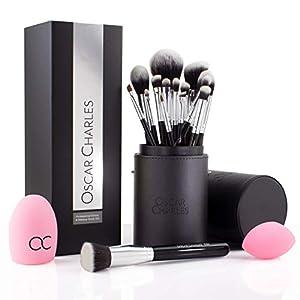 Set de cepillos de maquillaje de Oscar Charles, pinceles de maquillaje presentados en una elegante funda y dentro de una caja de regalo (Plata)