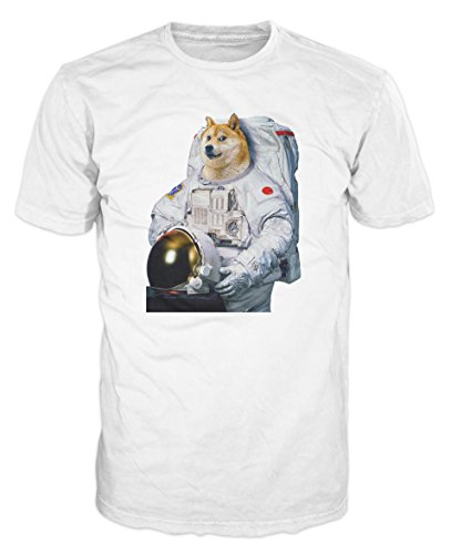 Doge Dog Astronaut Funny T-shirt (XL, White)