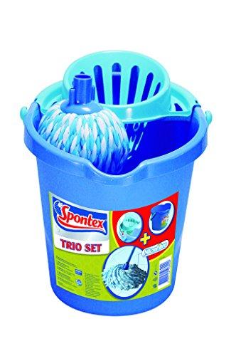 Spontex lavapavimenti trio set, fiocco in 100% microfibre e secchio con strizzatore