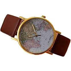 Retro World Map Womens Quartz Wrist Watch Brown