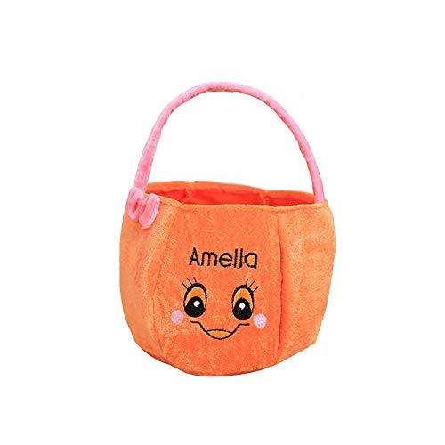 Cosanter Halloween Kleinen Korb Tragbare Süßigkeiten Tasche Kinder Make-up Party Kostüme (Orange 01)