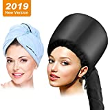 Bonnet Hood Hair Dryer Attachment with Blue Towel,Drying Cap Hand Free Adjustable for Care Deep Conditioning