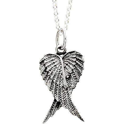 Designer Inspirations Boutique ® - Collana con pendente di grandi dimensioni, in argento sterling, con 2 ali d'angelo di quasi 4 cm, su catena da 40,6, 45,7 o 50,8