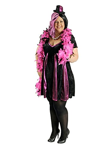KULTFAKTOR GmbH Heisses Showgirl Damenkostüm Plus Size schwarz-pink L (Plus Size Showgirl Kostüm)
