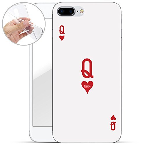 finoo   iPhone 8 Plus Weiche flexible Silikon-Handy-Hülle   Transparente TPU Cover Schale mit Motiv   Tasche Case Etui mit Ultra Slim Rundum-schutz   Princess white Queen Karte